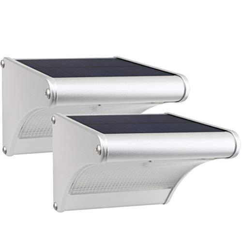 Licwshi 450 Lumens Solarleuchten 24 LED mit Aluminiumlegierungsgehäuse, Wasserdichtkeit im Freien, Radar-Bewegungsinduktion, es ist geeignet für Laubengang, Garten, Hof, Garage, 2 Packung