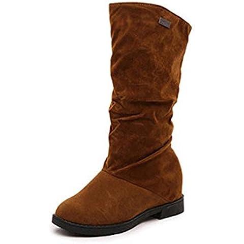 SHIXR Nuevas damas invierno c¨¢lido botas gamuza alto jinete , brown , 36