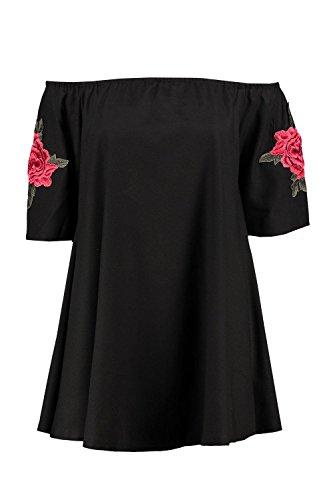 Damen Schwarz Cleo Embroidered Cold Shoulder Dress Schwarz