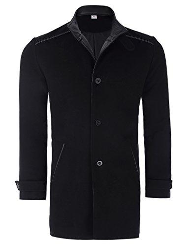 Paul JonesMen's Shirt Men's Black Wool Blends Long Jacket Trench Coat Outerwear PJ0038