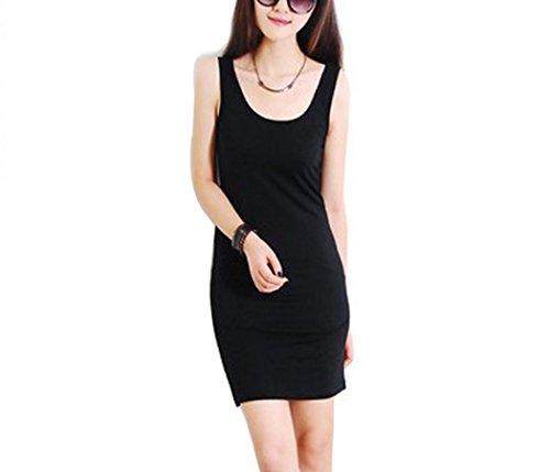 Zearo Femmes Vintage Mini Robe Sexy Casual Moulante Soirée Sans Manche -Mini Robe Débardeur T-Shirt Tops/Chemise Longue Noir