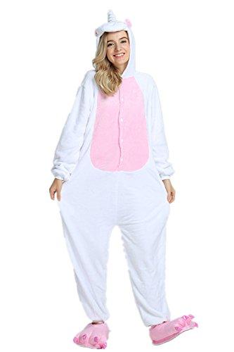 Kenmont Déguisement Combinaison Licorne Pyjama Grenouillère Adulte Animal Pyjamas Costume à capuche Halloween Carnaval Noël Fête Tenue (S(148-160CM), Pink)