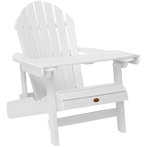 Highwood ADIRONDACK - Bandeja/mesita de lectura de madera sintética eco-friendly, color blanco  [Silla no incluida]