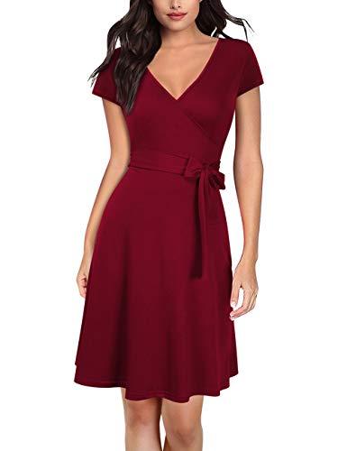 KOJOOIN Damen Kleid Business Kleid Knielang Wickelkleid, 3/4 Arm mit V-Ausschnitt und Gürtel