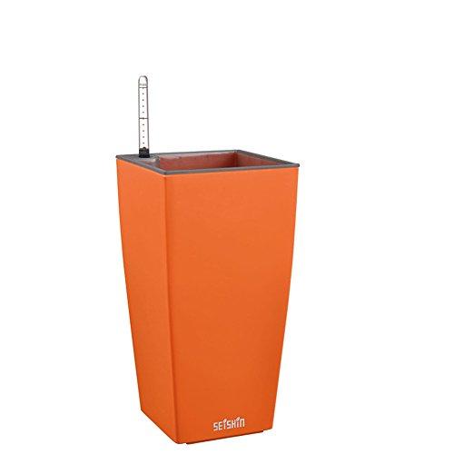 Sungmor 13.5 x 26.5 cm d'arrosage automatique Spuare Pot de fleurs avec de l'eau au mètre et B & Q, haute brillance Rebord de fenêtre Garden Pot de fleurs de bureau pour plantes et herbes aromatiques et Succulents, Plastique, orange clair, 13.5cmL*13.5cmW*26.5cmH