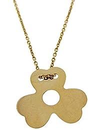 bc398674f6cd Gioielli Aurum - Collar de Mujer de Oro Amarillo con Colgante Trébol Collar  Gargantilla Hélice