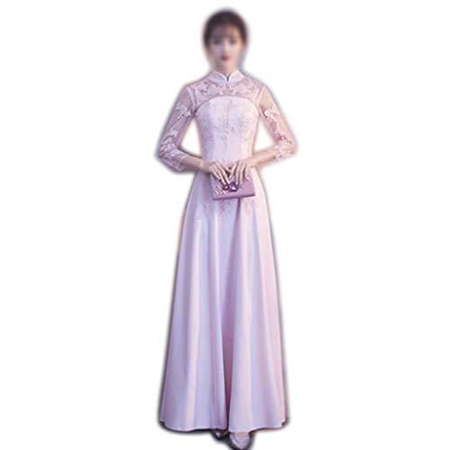Rocke Frauen Kleid Stehkragen Exquisite Spitze Stickerei Sexy Abend Hochzeit Formales Abendkleid (Farbe : Rosa, Size : M)