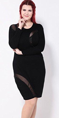 Bigood Robe Moulante Femme Tulle Cocktail Soirée Clubwear Manches Longues Grande Taille Noir