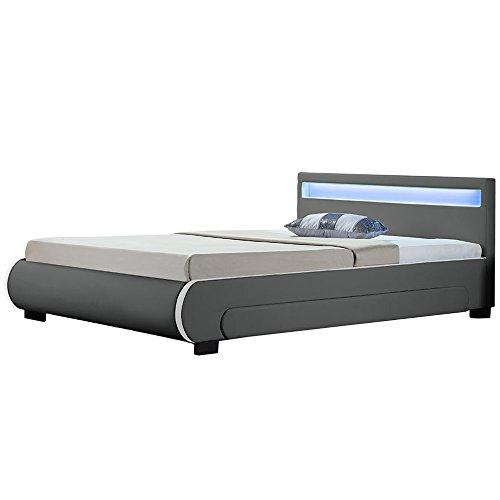 Juskys Polsterbett Bilbao mit Lattenrost, Bettkästen & LED Beleuchtung im Kopfteil | 180 x 200 cm | grau | Bett Doppelbett Jugendbett Bettgestell