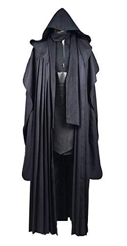 Tunic Cosplay Kostüm Mit Kapuze Robe Outfits Halloween Ritter Umhang (XS, Schwarz-B) ()