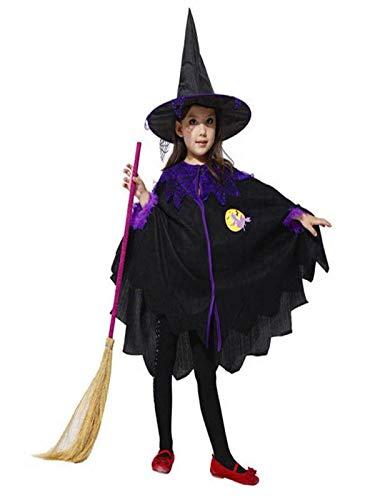 Babykleidung,Honestyi Kleinkind Kinder Baby Mädchen Halloween Kleidung Kostüm Kleid Party Mantel + Hut Outfit (140,Schwarz)