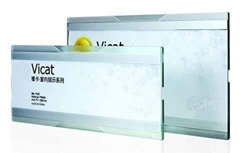 Schmalz Werbeservice Türschild Büroschild Wandschild VICAT 1120 aus Acryl mit Seitlichem Einschub mit doppelseitigem Klebeband (50 x 200 mm)