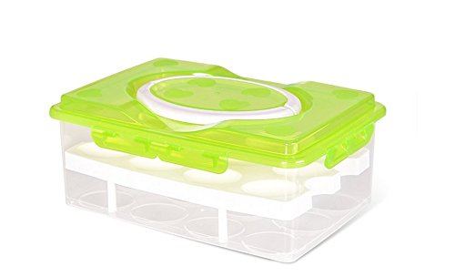 Milopon Eierleisten Eierhalter Eierablage für Kühlschrank Doppelschicht Eier Aufbewahrungsbox Multifunktionsbox Transportbox Kühl Gefrierkombination Einbaukühlschrank