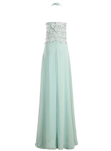 Dresstells Damen Rückenfrei Neckholder Abendkleid mit Lace Bodenlang Ballkleid Grape