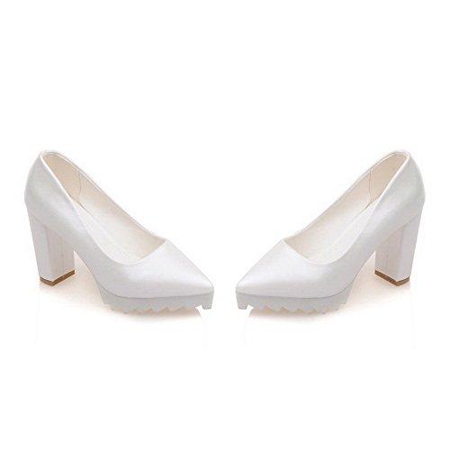 VogueZone009 Femme Matière Souple Tire Pointu à Talon Haut Couleur Unie Chaussures Légeres Blanc