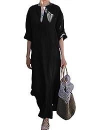 HAHAEMMA Vestito estivo Da Donna Abito Sciolto Manica Lunga Retro Lino  Cotone Abiti Lunghi Donna Eleganti Camicetta Largo Casual… ee6067173fa