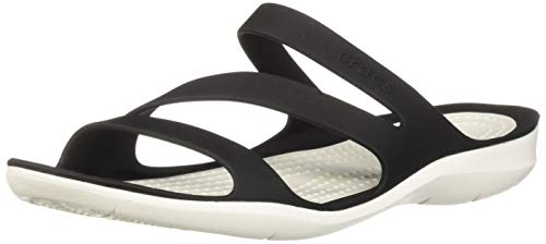 crocs Swiftwater Damen Sandalen, Schwarz (Black/White 066), 39/40 EU (W 9 US)