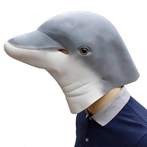 (YuStar Halloween-Maske mit lustigem Tier-Delfin-Kopf, aus Latex)