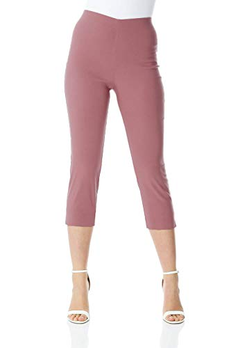 Roman Originals Femme Pantacourt Capri Extensible Bengaline 40 Couleurs Ajustable Pas Cher 7/8 Amincissant Cigarette Elastique Legging Jegging - Dusky Pink - Taille 40/UK 12