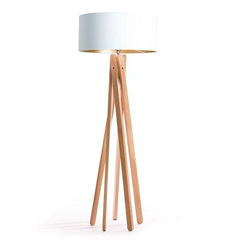 Hochwertige Design Stehlampe Tripod mit Textil Schirm aus Chintz in weiß gold und Stativ/Gestell...