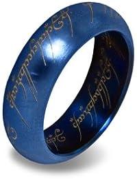 Herr der Ringe - Der Eine Ring Edelstahl in Blau mit prächtigem Schmuckdisplay