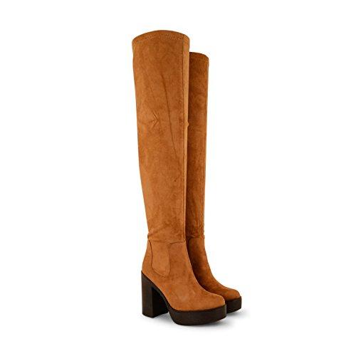 NEU Damen Knee High geschoben Plattform High Heel Stretch Damen Stiefel Schuhe Hellbraun