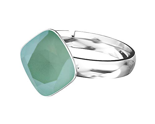 Crystals & Stones 925 Silber Ring *RHOMBUS SQUARE* *Aquamarine* Swarovski Elements - 925 Sterling Silber Damen Ring Größe Verstellbar (Mint Green)