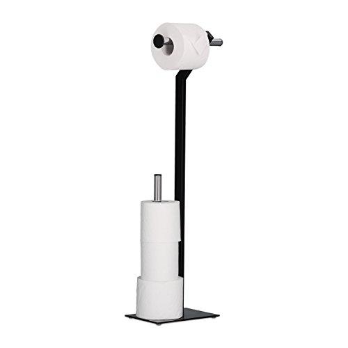 Gesamt-minuten Iron (Relaxdays WC-Papierhalter stehend, Toilettenpapierhalter mit Reserverollenhalter, HxBxT: 72x23x13,5 cm, schwarz/chrom)