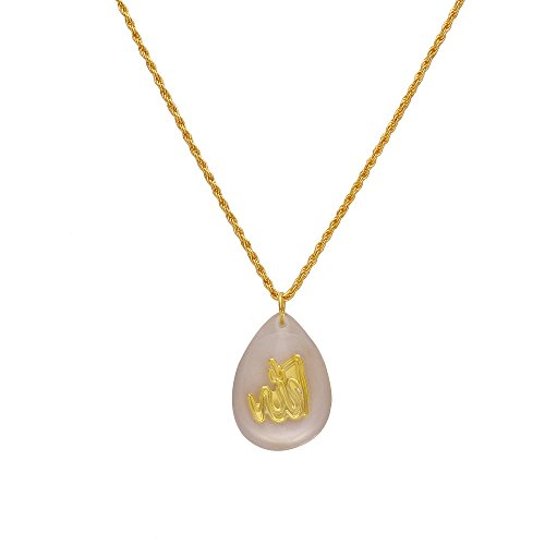 Dzinetrendz Gold Allah word, in Crystal flat drop chain pendant necklace muslim...