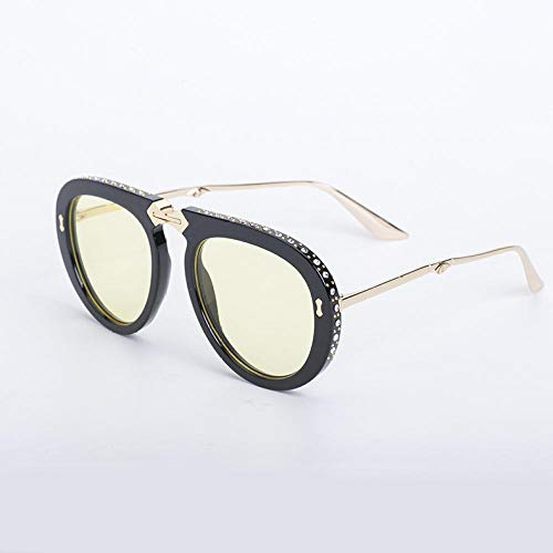 WDSLHH New Sonnenbrille Faltbare Frauen Schwarzen Rahmen Gelb Einzelprodukt