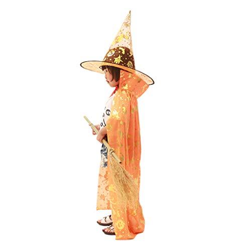 Kind Kostüm Orange Katze - Youliy Hexe Zauberer Kostüm Cosplay Cape - Kürbisschläger Katze Bronzing Print - Rollenspiel-Kostüm für Kinder Orange