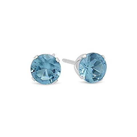 Brilliant Cut Simulated Aquamarine 5mm CZ Sterling Silver Stud Earrings