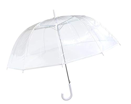 SMATI Damen Regenschirme Transparent Hochzeit/Durchsichtig Glockenschirm mit 12 Speichen Fiberglas/Satin BEZUG - Großer Hochzeitsschirm für 2 XXL VollAutomatik (Weiß)