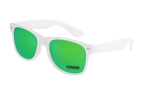 X-CRUZE® 8-108 X0 Nerd Sonnenbrille Retro Vintage Design Style Stil Unisex Herren Damen Männer Frauen Brille Nerdbrille - weiß und grün verspiegelt