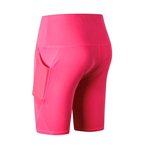 WOZOW Damen Cycling Kurze Hose Shorts Solid Patchwork Mesh Seitentasche Sport Hose Hosen High Waist Dünn Skinny Laufhose Workout Yoga Mini Stoffhose Trousers (M,heißes Rosa) Juicy Velour Hoodie