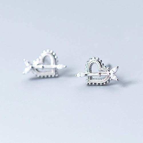 Golden_flower S925 Silber Ohr Nagel Frauen Koreanischen Stil Natürliche Kleine Frische Diamantbesetzte Pfeil Herzförmige Ohrringe Schmuck, Silber, 925er Silber (Ohrringe Kleine Pfeil Goldene)