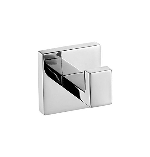 Weare Home SUS 304 Stainless Steel Wall-Mount Bathroom Square Polish Finished Single Robe Hook Hanging Clothing Coat Hat Towel by Weare Home