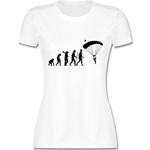 Evolution - Fallschirmspringen Evolution - tailliertes Premium T-Shirt mit Rundhalsausschnitt für Damen Weiß
