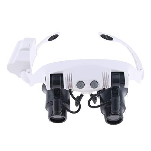 P Prettyia LED Lupenbrille Kopflupe Brillenlupe mit Licht 10X 15X 20X 25X Lupe mit Stirnband und 6 Pcs Linse 9892GJ