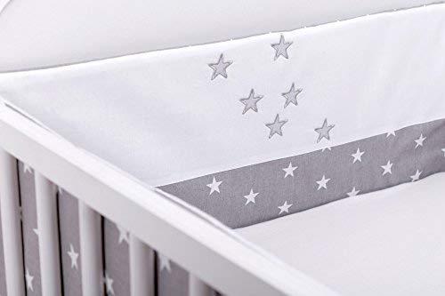 Amilian® Bettumrandung Nest Kopfschutz Nestchen Sternchen Grau mit STICKEREI Bettnestchen Baby Kantenschutz Bettausstattung (210cm (für das Babybett 140x70cm- Kopfschutz))