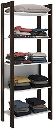 tecnomobili Bookcase, White with Walnut Frame - H 165.5 cm x W 35.5 cm x 35.5 D cm