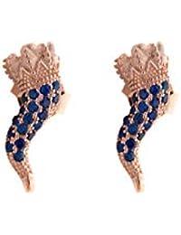 b9d89aef03af Remo Gammella Pendientes Cuerno de Plata 925 bañada en Oro Rosa y  circonitas Azul ...