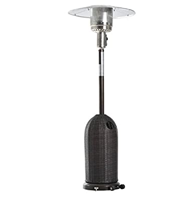 Heavy Duty Free Standing Brown Patio Heater With Wheels on the Bottom, Electron Ignition - Made with a Metal Frame and Covered with Rattan - Great Addition to Your Outdoor Living