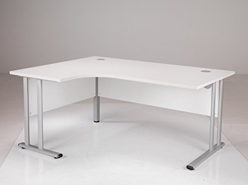 Cheapest 1600×1200 mm Radial Left Hand Desk with 2 Grommets Colour: White Review