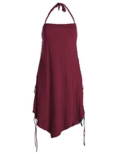 Vishes - Alternative Bekleidung - Lagenlook Neckholder Zipfelkleid zum Schnüren dunkelrot-schwarz (Fraggle Kostüme)