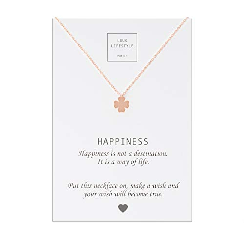 tahl Halskette mit Kleeblatt Anhänger und Happiness Spruchkarte, Glücksbringer, Damen Schmuck, Rosa ()