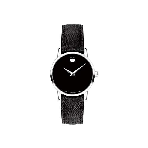 Movado Women's 28mm Black Leather Band Steel Case Quartz Analog Watch 0607204