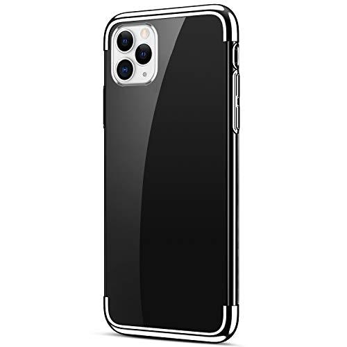 Uposao Kompatibel mit iPhone 11 Pro Max Schutzhülle Transparent Weiche Silikon Handyhülle Überzug Farbig Rahmen Silikon Hülle Liquid Crystal Clear Durchsichtige TPU Bumper Case,Silber