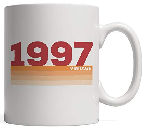 Vintage 97 21 Years Old Birthday Mug - Funny Retro Distressed Graphic Design As 21st Anniversary Gift Idea For Twenty One Year Old Man Or Woman Born In 1997 For Their Twenty First Birth Day!