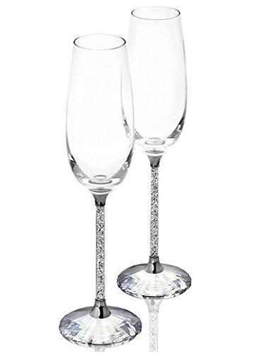 Champagner Gläser - Set von 2 mit Swarovski-Kristallen - Dekoration - Hochzeit - Jahrestag - Einweihungsfeier